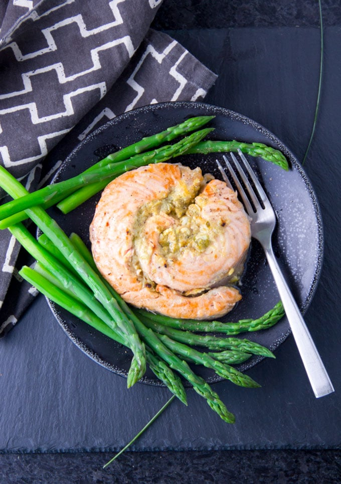 delicious broiled salmon stuffed with horseradish mustard