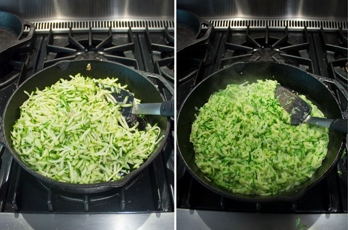Side by side shots of a cast iron skillet filled with shredded zucchini before and after sautéeomg