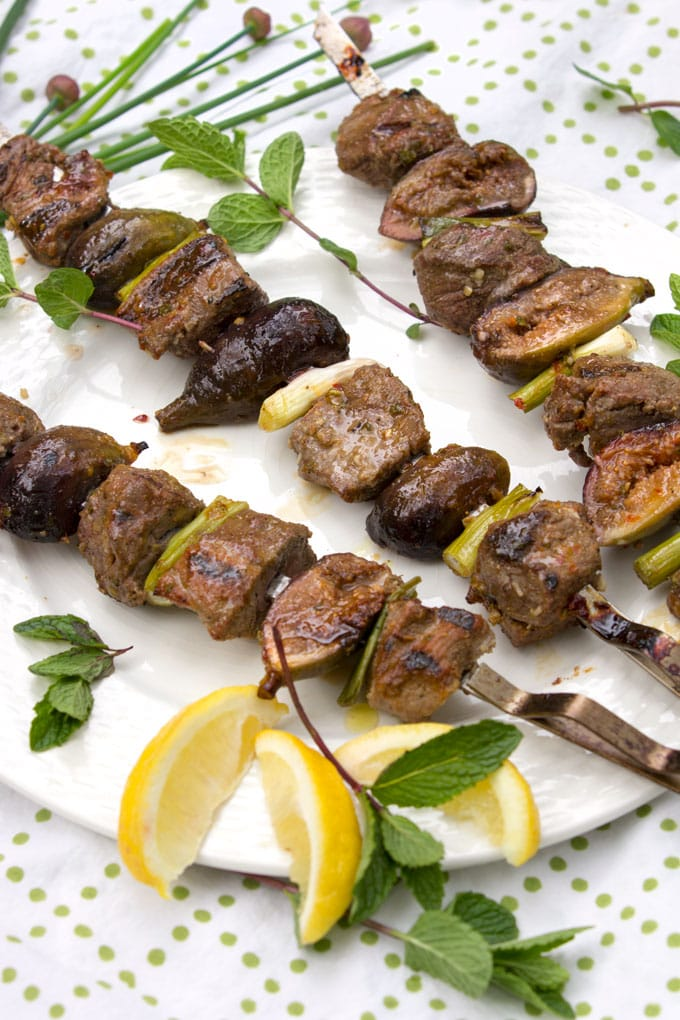 Here's a kebab recipe for your next barbecue – grilled skewers of lamb and fresh figs with a sweet, spicy, minty glaze. The subtle sweet flavor of grilled figs is so delicious with the charred rich grilled lamb. The glaze takes it over the top.