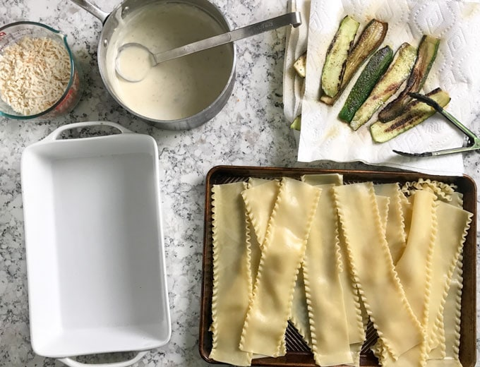 This Tuscan vegetarian lasagna is very special (carnivores will think so too) Creamy béchamel sauce, smoky mozzarella, fresh zucchini, layered with noodles and baked until hot and bubbly. Family friendly, company worthy, so good!