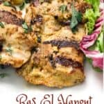 close up of one ras el hanout marinated grilled boneless chicken thigh