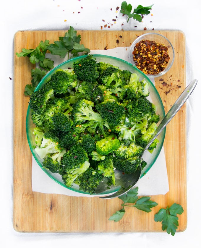 chimichurri broccoli salad in a bowl