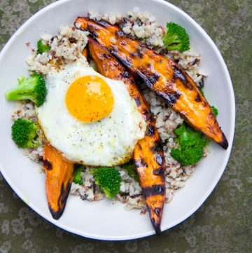 grilled sweet potato rice bowl with a fried egg