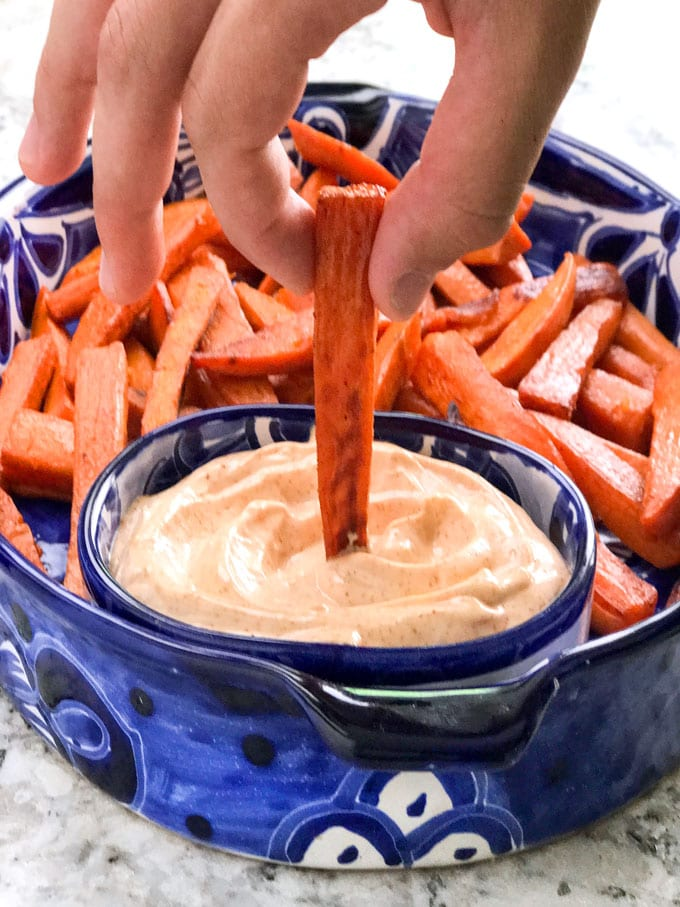 Here's an insanely delicious appetizer of baked or grilled sweet potatoes with chipotle aioli dip
