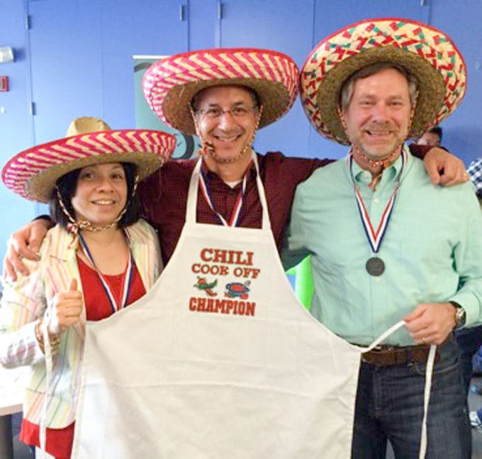 Eddie with his chili cook-off medal and apron.