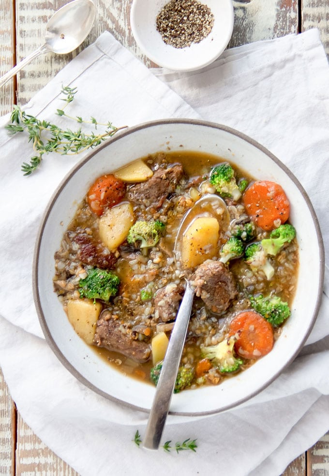 Beef Mushroom Soup - rich and hearty with plenty of meat, potatoes, vegetables and nutritious buckwheat - delicious, healthy, gluten free comfort food.