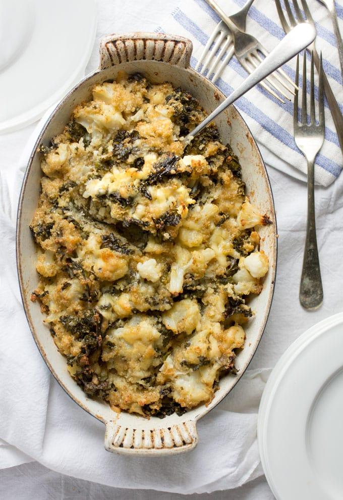 cauliflower casserole with nutritious veggies and sharp cheddar cheese.