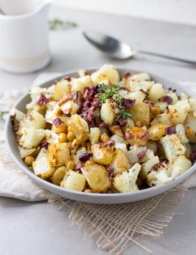 Roasted Cauliflower Potatoes and Chickpeas with Kalamata Olive Vinaigrette
