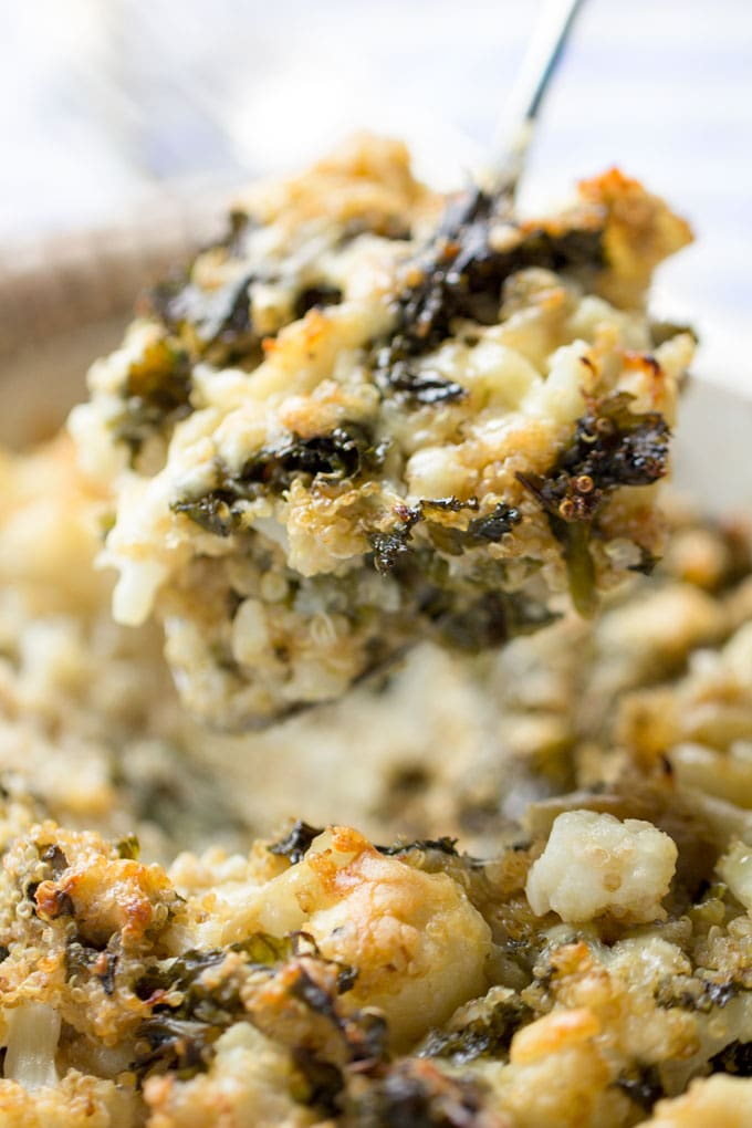 This cauliflower casserole is packed with nutritious veggies and just enough sharp cheddar cheese to make it taste decadent [gluten-free] l Panning The Globe Recipe
