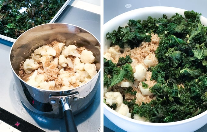 If you're craving mac-and-cheese but you don't want the carbs or calories, make this easy cauliflower casserole with quinoa kale and sharp cheddar. {gluten free}