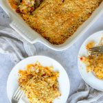 Spicy chorizo, smoked paprika and sweet bell peppers infuse rich Spanish flavors into this cheesy shredded potato casserole. This recipe is an update on classic Funeral Potatoes, amped up on flavor and made lighter and healthier with no canned soup and yogurt instead of sour cream.
