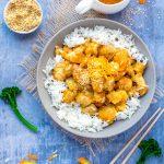 Chinese orange chicken over rice with orange sauce