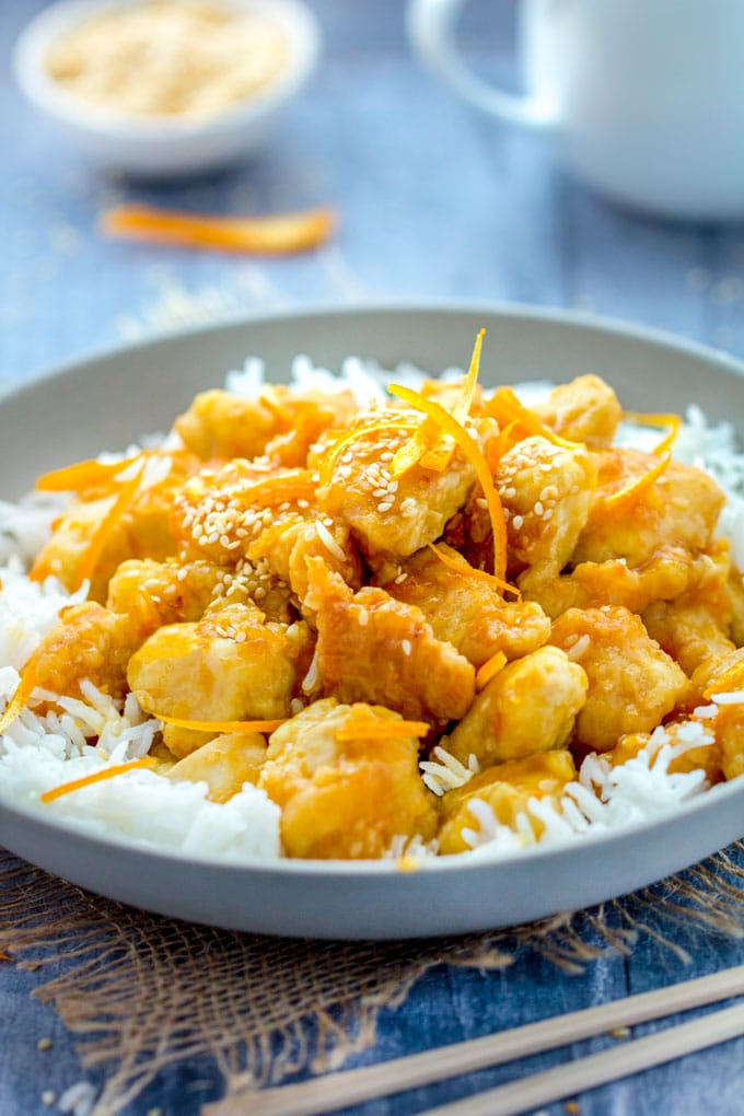 Chinese orange chicken panning the globe tender chunks of lightly battered chicken in sweet sour intensely orange glaze orange forumfinder Choice Image