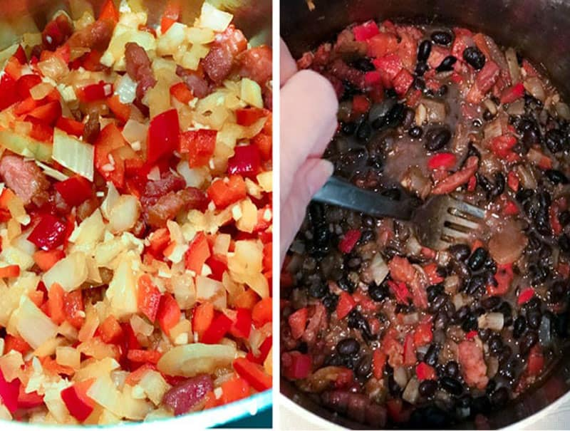 close up of a sofrito of red peppers and onions being sautéed and then black beans being stirred into the pot