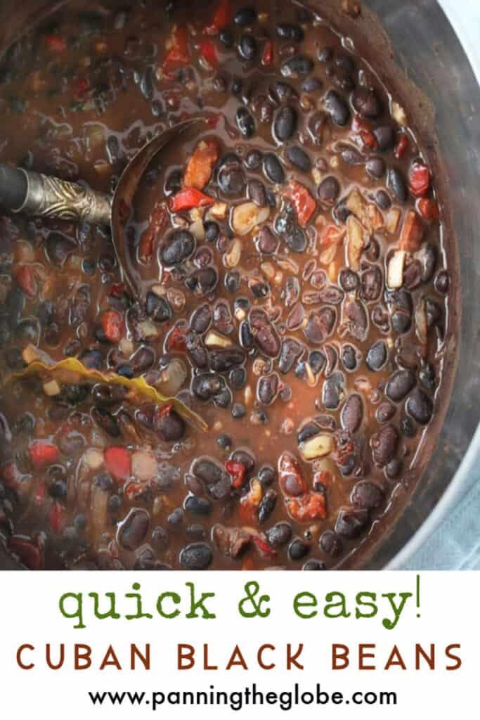 Pinterest pin: close up looking into a pot of Cuban black beans