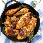 Roasted chicken in a skillet