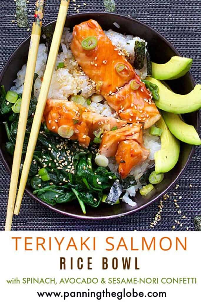 Pinterest Pin: teriyaki salmon rice bowl with spinach, avocado slices and rice