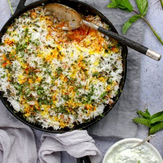 Indian Chicken Biryani in a cast iron skillet