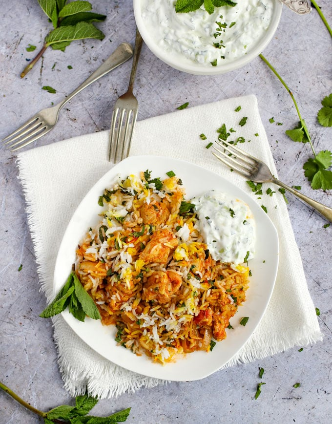 a plate of Indian Chicken Biryani