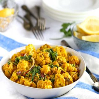 A bowl of turmeric roasted cauliflower salad