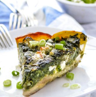slice of Greek spinach pie in potato crust