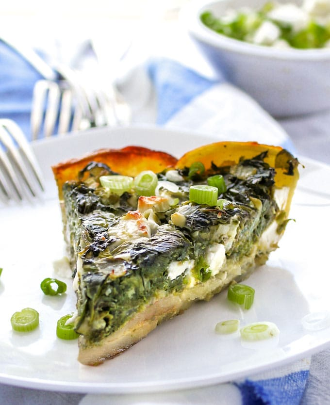 a slice of Greek spinach pie in potato crust