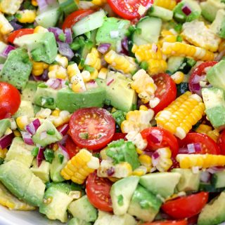 Close up of corn tomato avocado salad