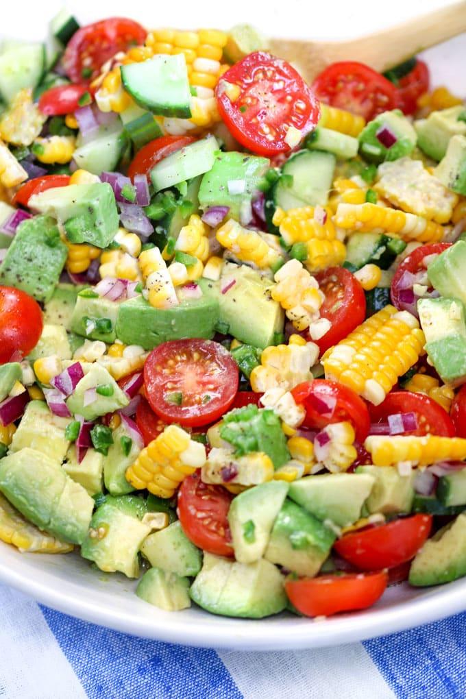 Close up of corn tomato avocado salad