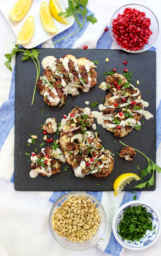 grilled cauliflower shawarma with garnishes