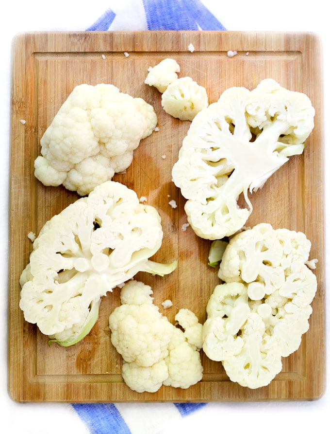 Blanched cauliflower cut into steaks
