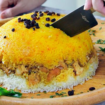 Persian layered Chicken and Rice casserolde