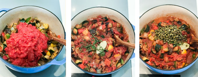 three pots showing three stages of cooking easy ratatouille