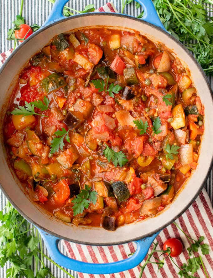 a pot of ratatouille