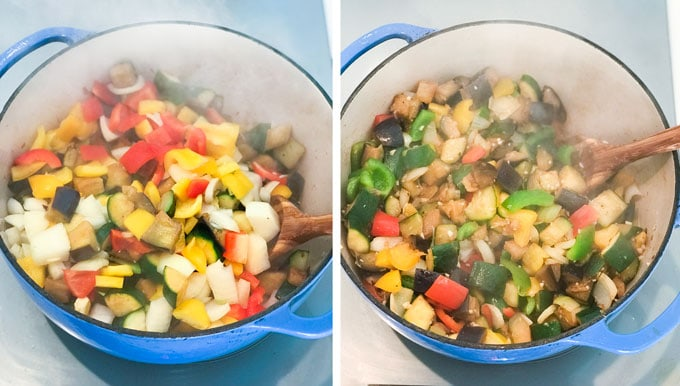Vegetables simmering in pots showing how to make the best easy ratatouille
