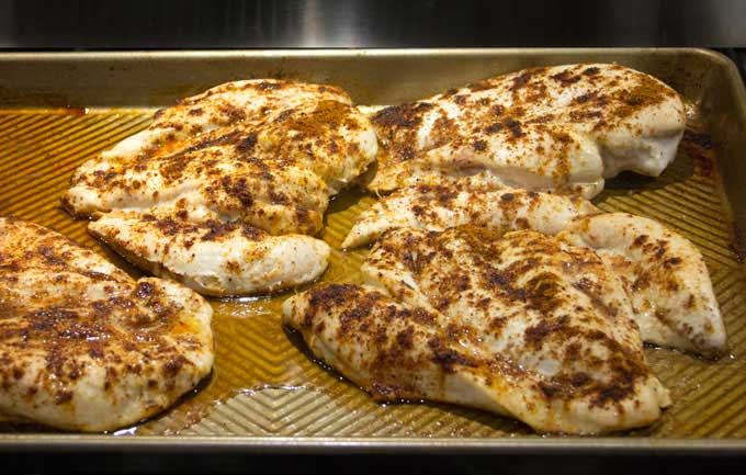 roasted spiced chicken breasts for making award winning white chicken chili