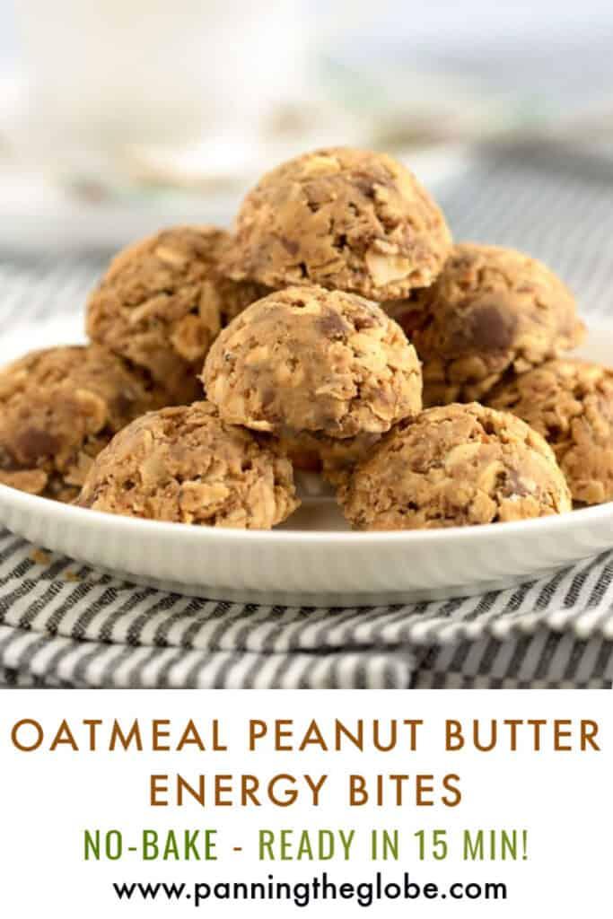 pinterest pin: plate of oatmeal peanut butter energy bites