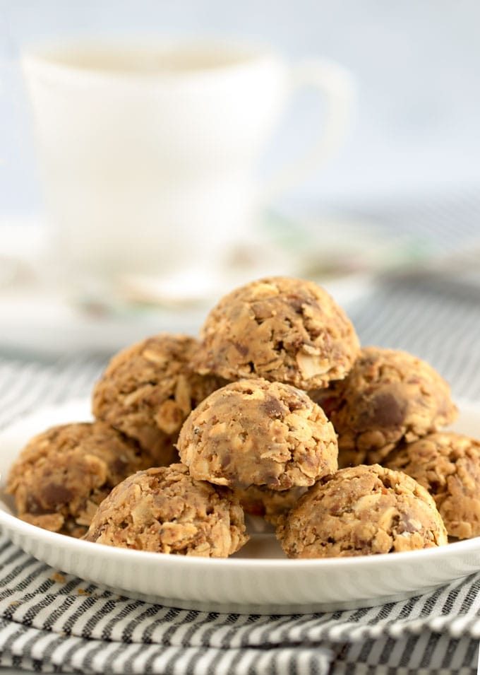 Stack of no bake oatmeal peanut butter energy bites