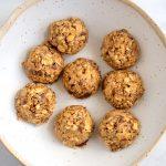Bowl of no bake oatmeal peanut butter snack bites