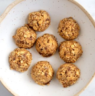 Bowl of no bake oatmeal peanut butter snack bites