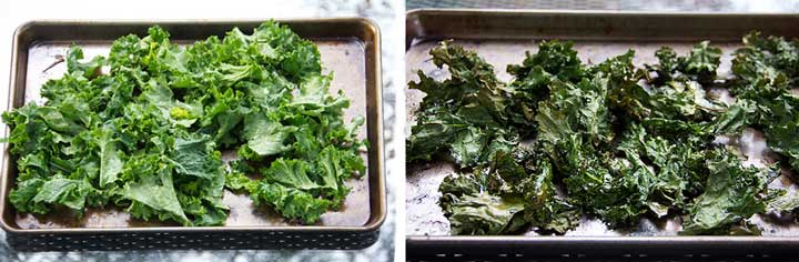 two rimmed baking sheets, one with raw curly kale - the other with roasted curly kale