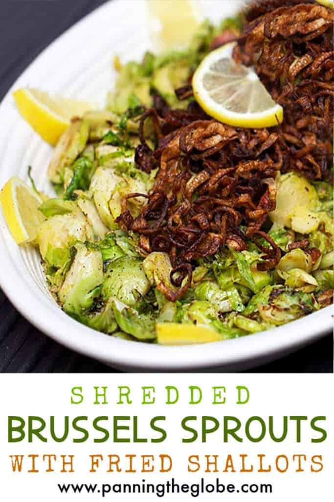 pinterest pin: shredded brussels sprouts with fried shallots