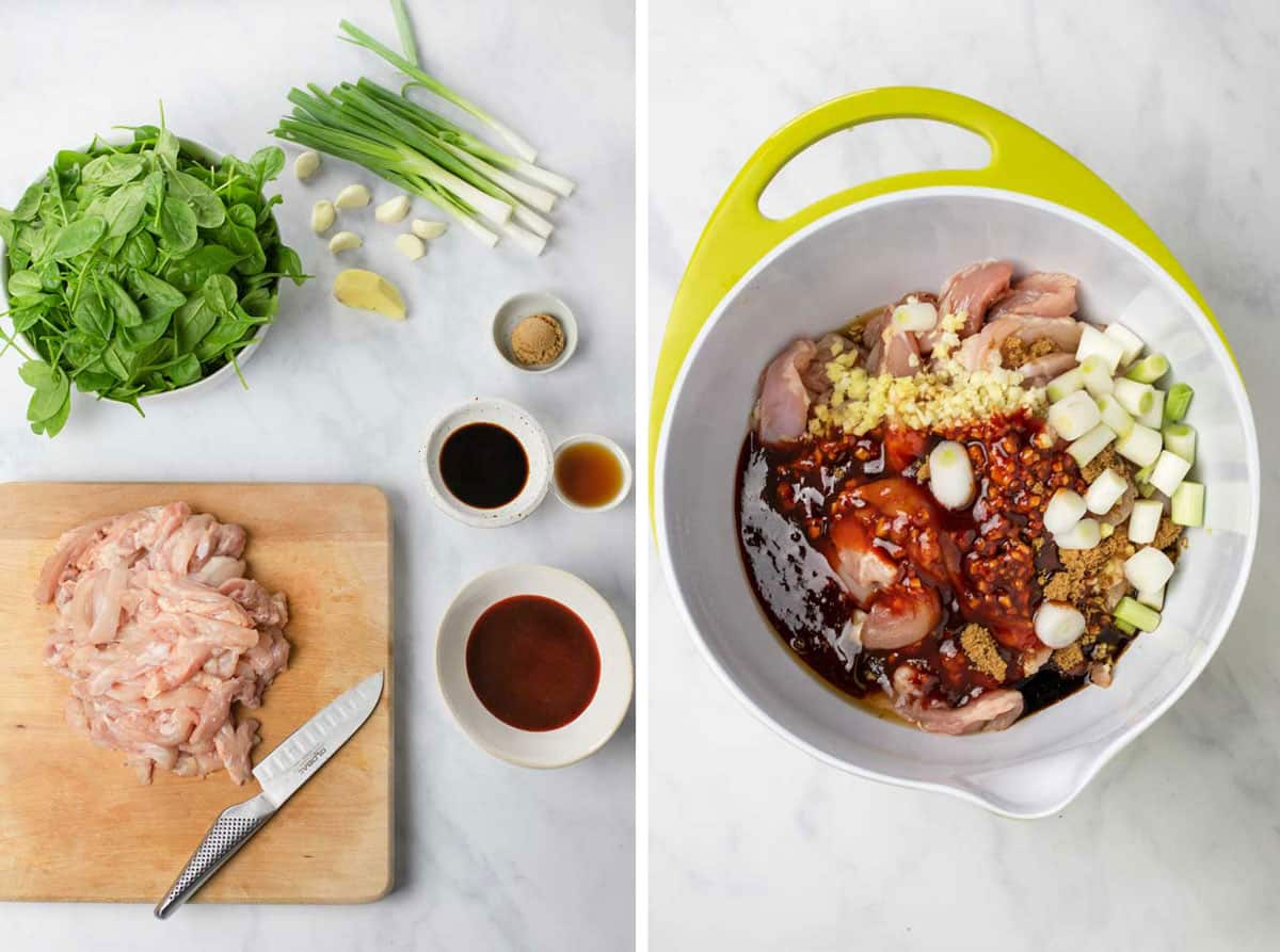 ingredients for Korean chicken stew: sliced raw chicken on a wooden cutting board, a bowl of spinach leaves, small bowls of gochujang sauce, soy sauce, chopped ginger and garlic, then a photo of all the ingredients together in a bowl