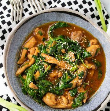 a bowl of Korean Chicken Stew with Gochujang Sauce