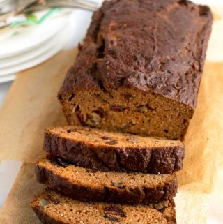 A loaf of healthy pumpkin bread with almond flour