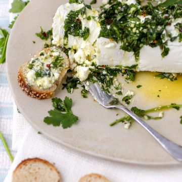plate with a log of goat cheese topped with parsley garlic cressing