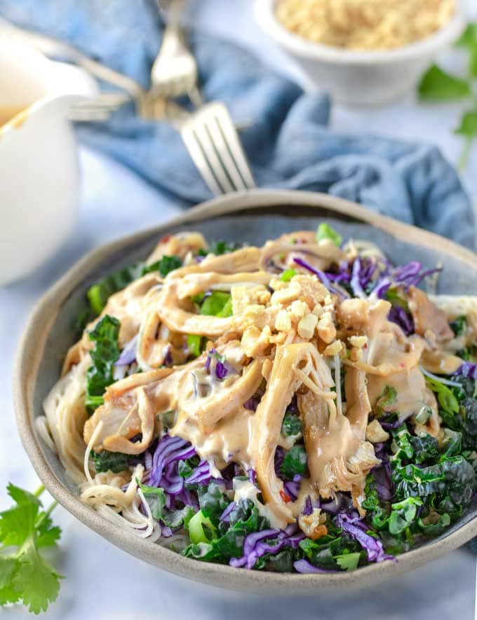 Thai Noodle Salad bowl with spicy peanut dressing