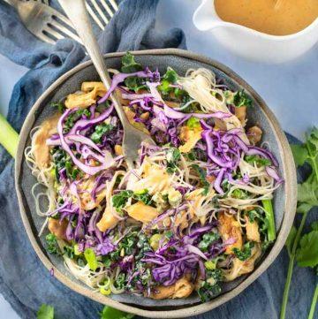 Thai Noodle salad bowl with peanut sauce
