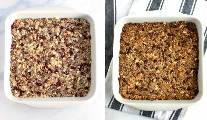 Two white square baking pans showing fruit and nut bars before baking and after baking