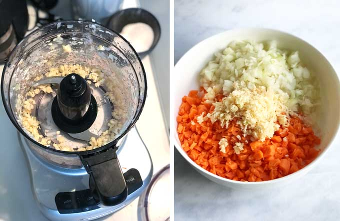 side by side photos, on the left looking down into a food processor with chopped garlic, on the right a bowl of chopped carrots, onions and garlic