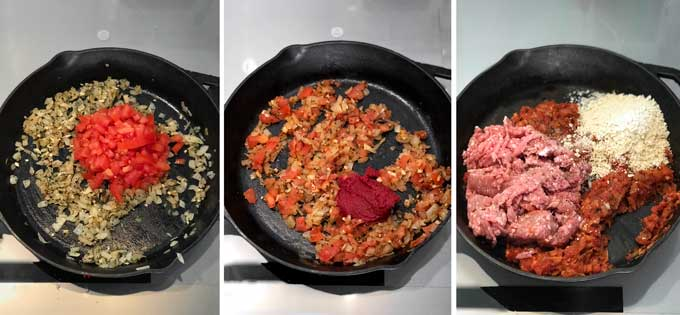 three pictures of a cast iron skillet in various stages of cooking onions, tomatoes and pork